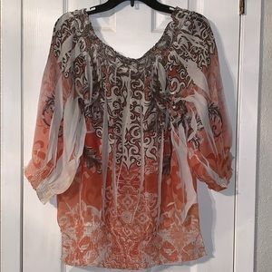 Orange and brown flowy top with band